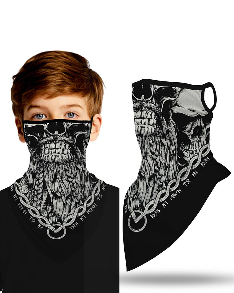 Skull Print Breathable Ear Loop Face Cover Windproof Outdoors thumbnail