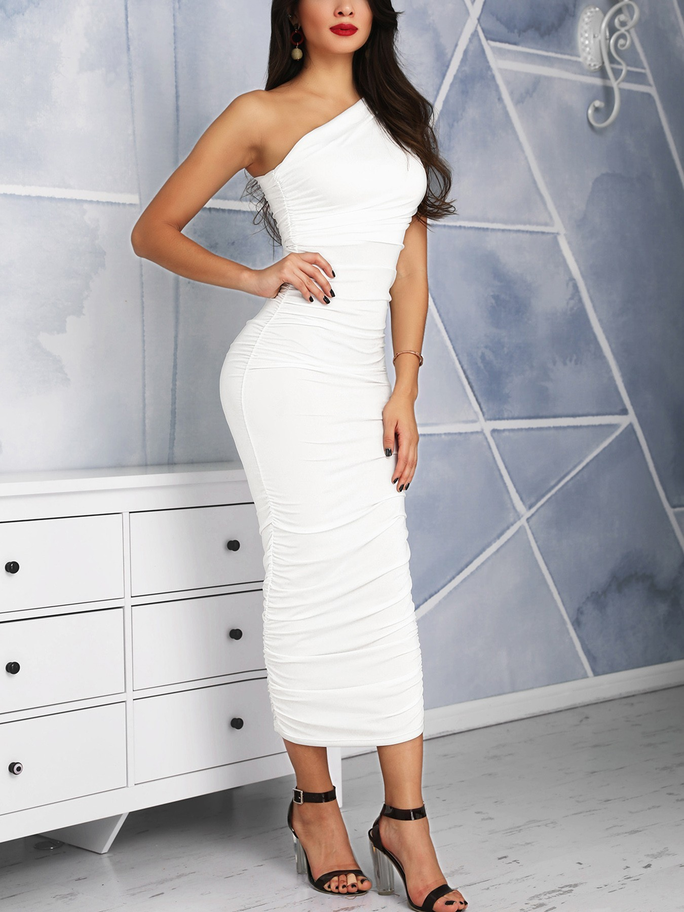 One Shoulder Scrunched Bodycon Dress