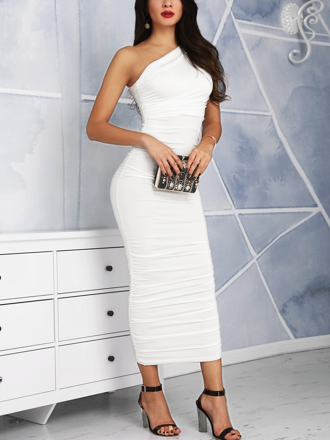 boutiquefeel / One Shoulder Scrunched Bodycon Dress