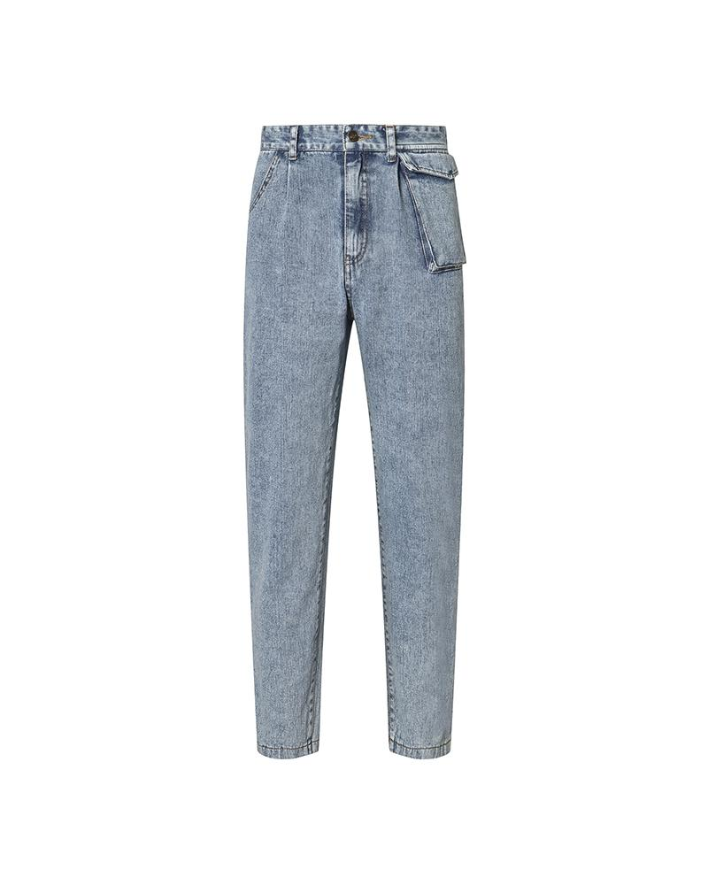 Solid High Waist Loose Denim Pants thumbnail