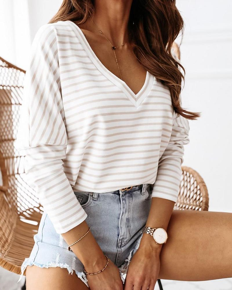 Striped Colorblock Long Sleeve Casual Top thumbnail