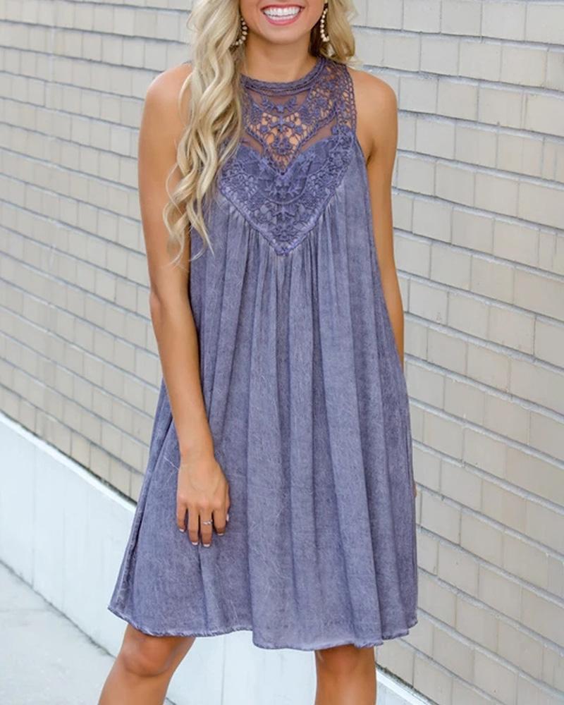 Crochet Lace Insert Sleeveless Casual Dress thumbnail