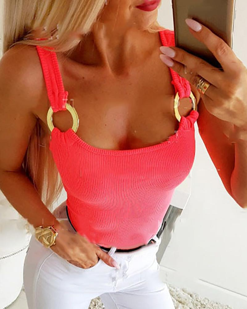 O-Ring Design Thick Strap Casual Top thumbnail