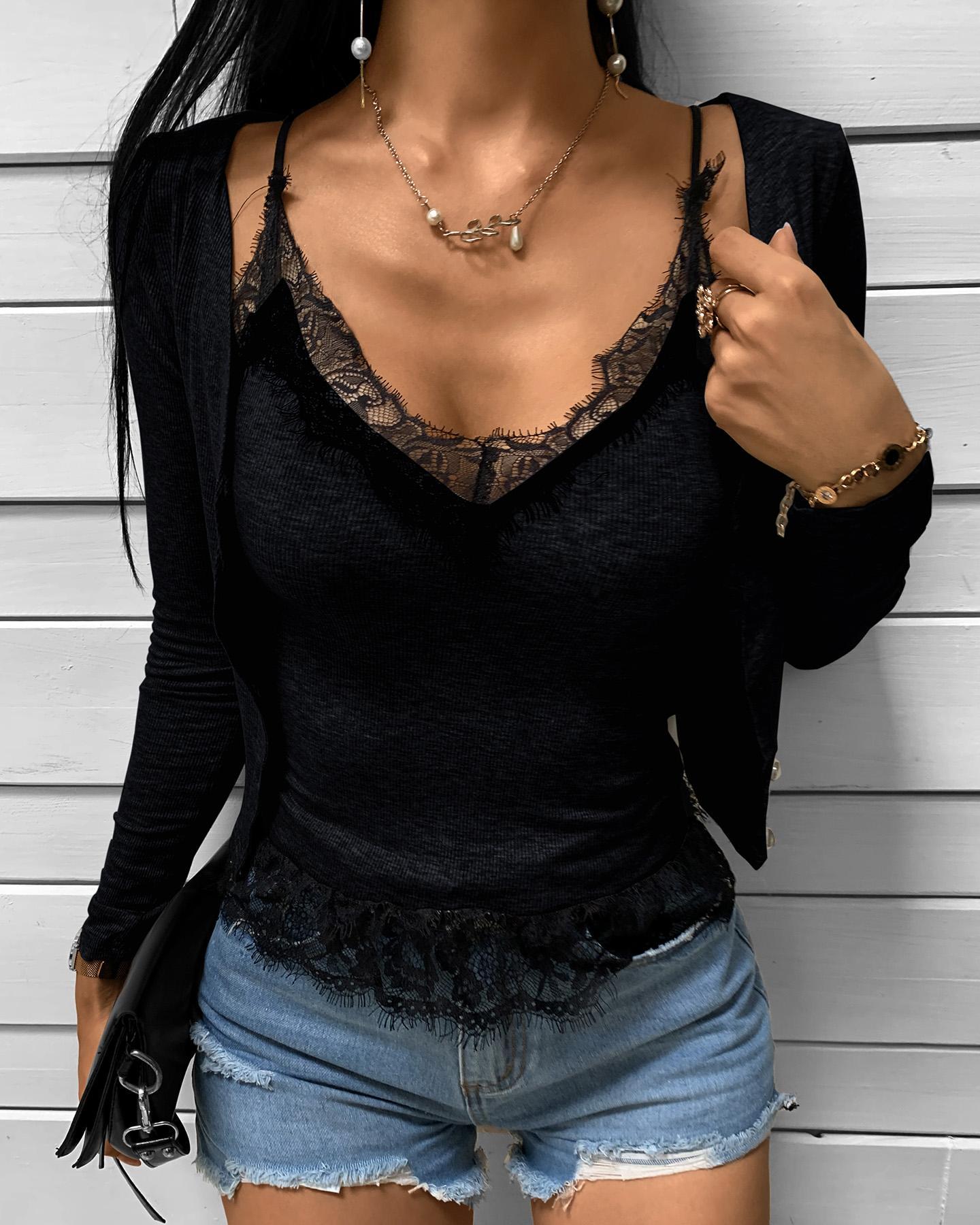 Eyelash Lace Top & Long Sleeve Cardigan Set thumbnail