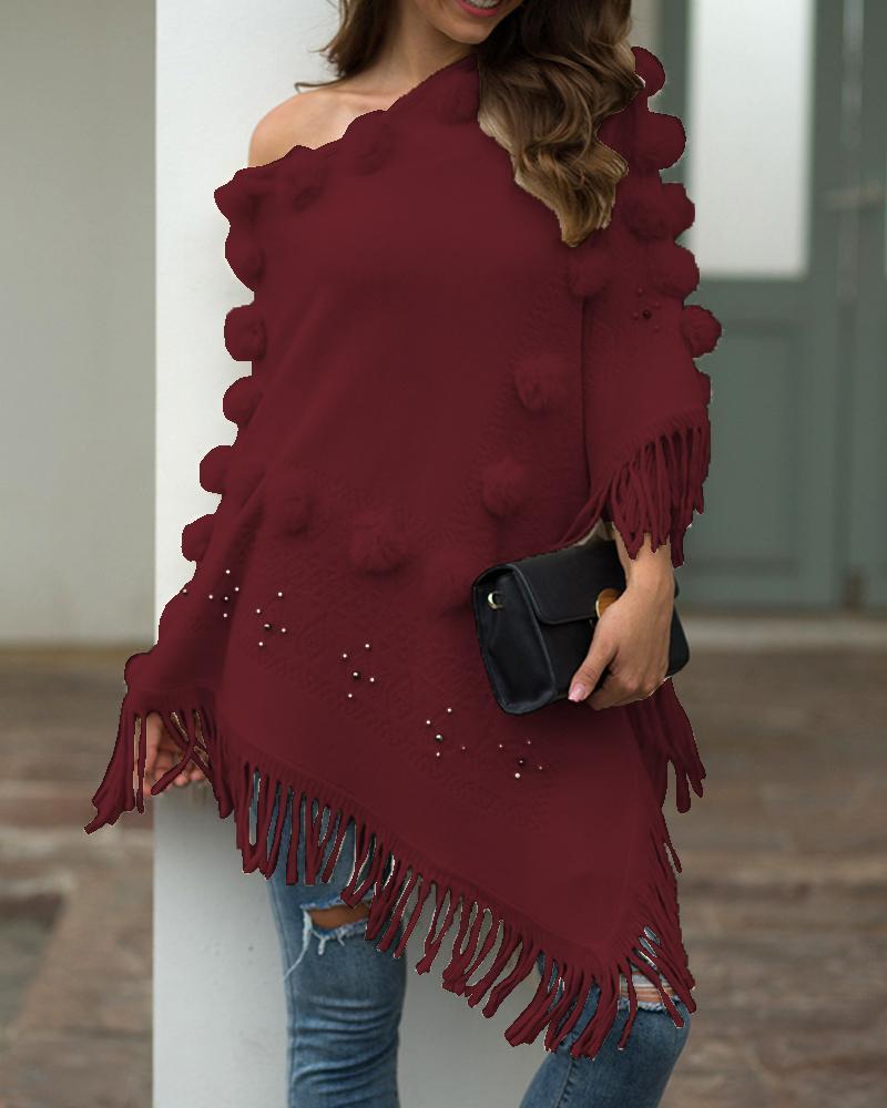 Tassel Design Pom Pom Casual Cloak Sweater thumbnail