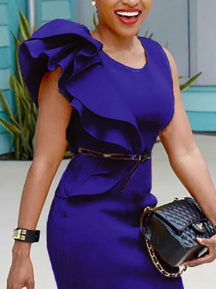 boutiquefeel / Stylish Ruffled Patchwork Sleeveless Bodycon Dress