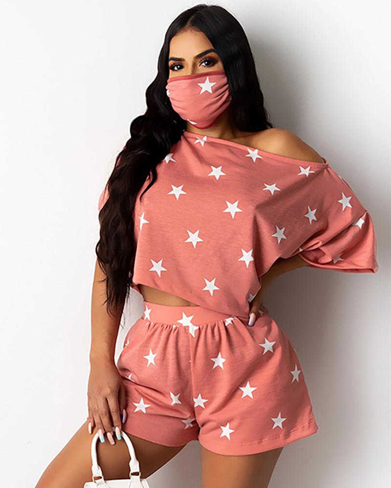 Star Print Casual Top With Face Bandana & Shorts Set thumbnail