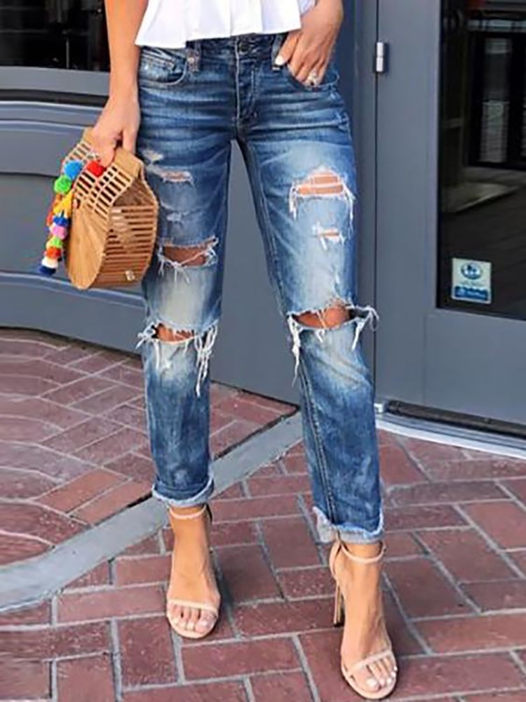 Holey Fringes Hem Distressed Jeans