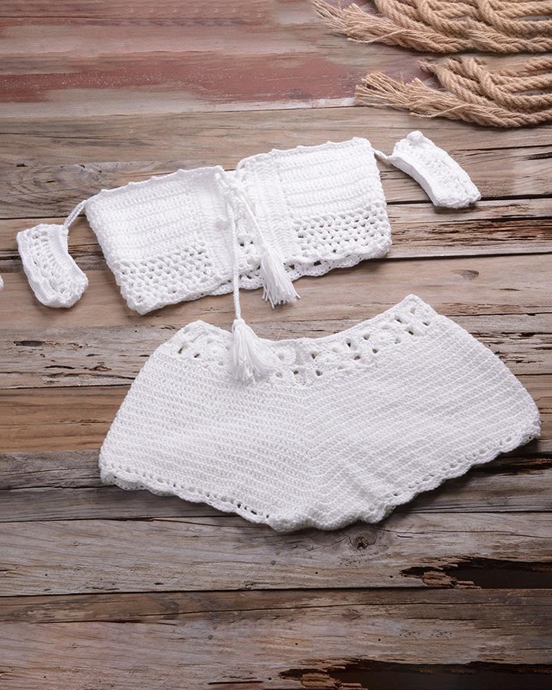 Hollow Out Tassel Design Crochet Tankini Set thumbnail