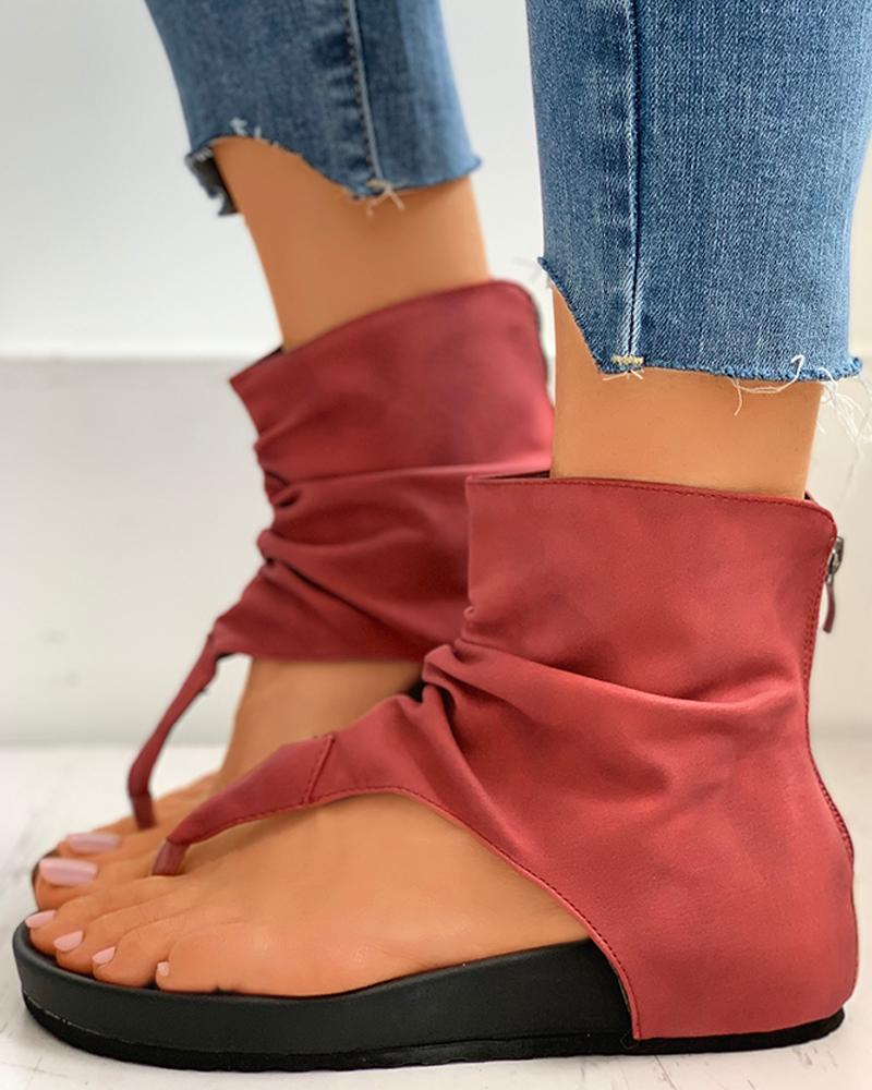 Zipper Design Slingback Thong Sandals thumbnail
