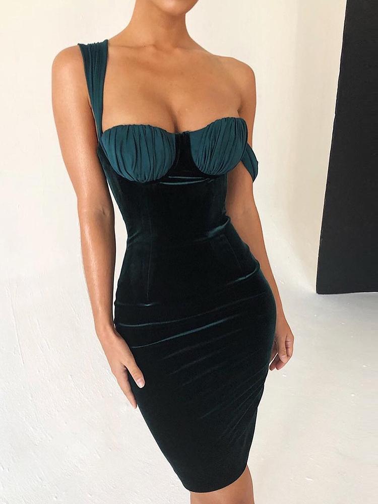 boutiquefeel / Underwire Insert Crisscross Velvet Dress