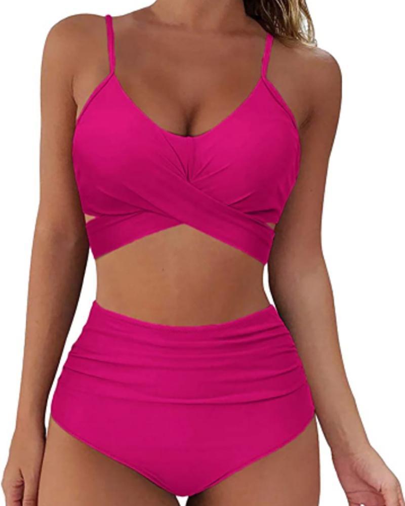Women Criss Cross Bikini Set Push Up High Waist 2 Piece Swimsuit Bathing Suits
