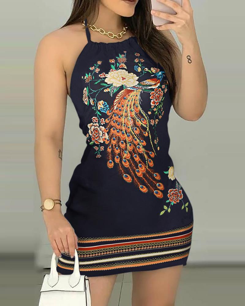 Peacock Floral Print Halter Backless Dress thumbnail