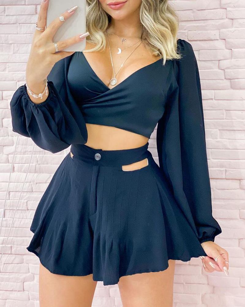 Plain V Neck Long Sleeve Top & Shorts Set
