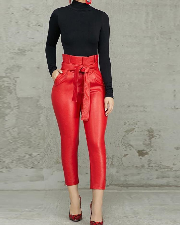 Frills High Waist Belted PU Pants