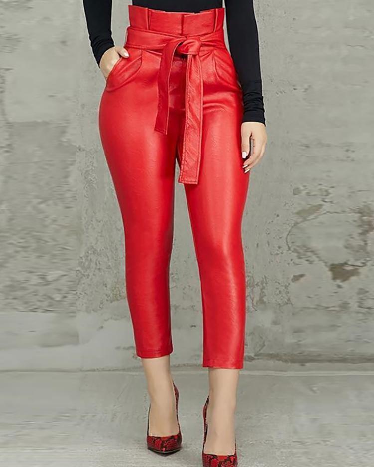Paperbag High Waist Belted PU Pants