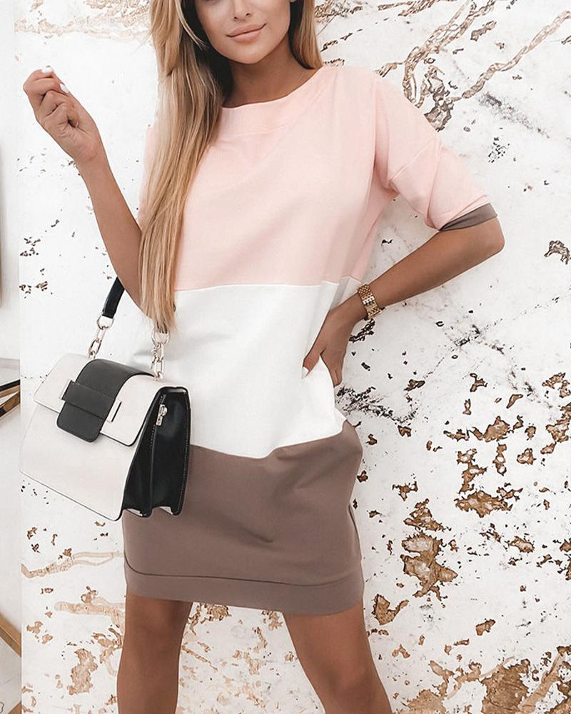 Colorblock Backless Short Sleeve Dress thumbnail