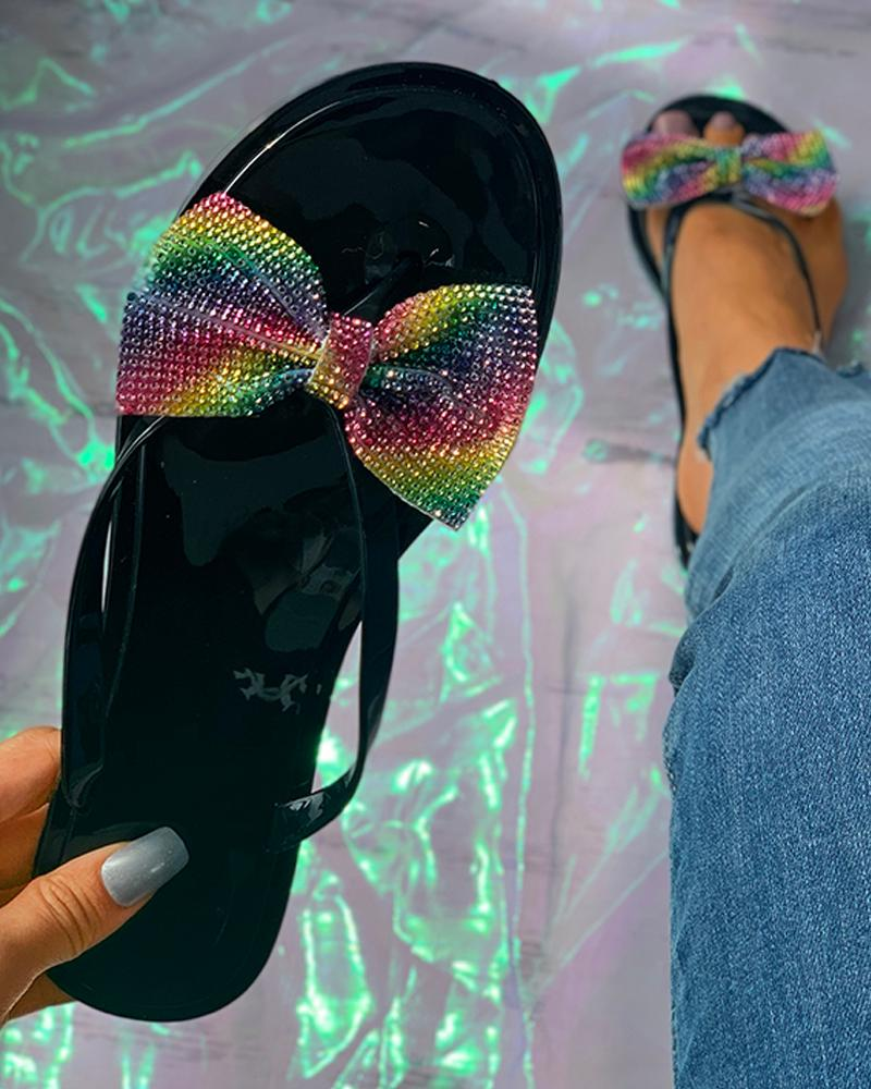 Colorblock Rhinestone Bowknot Flat Sandals thumbnail