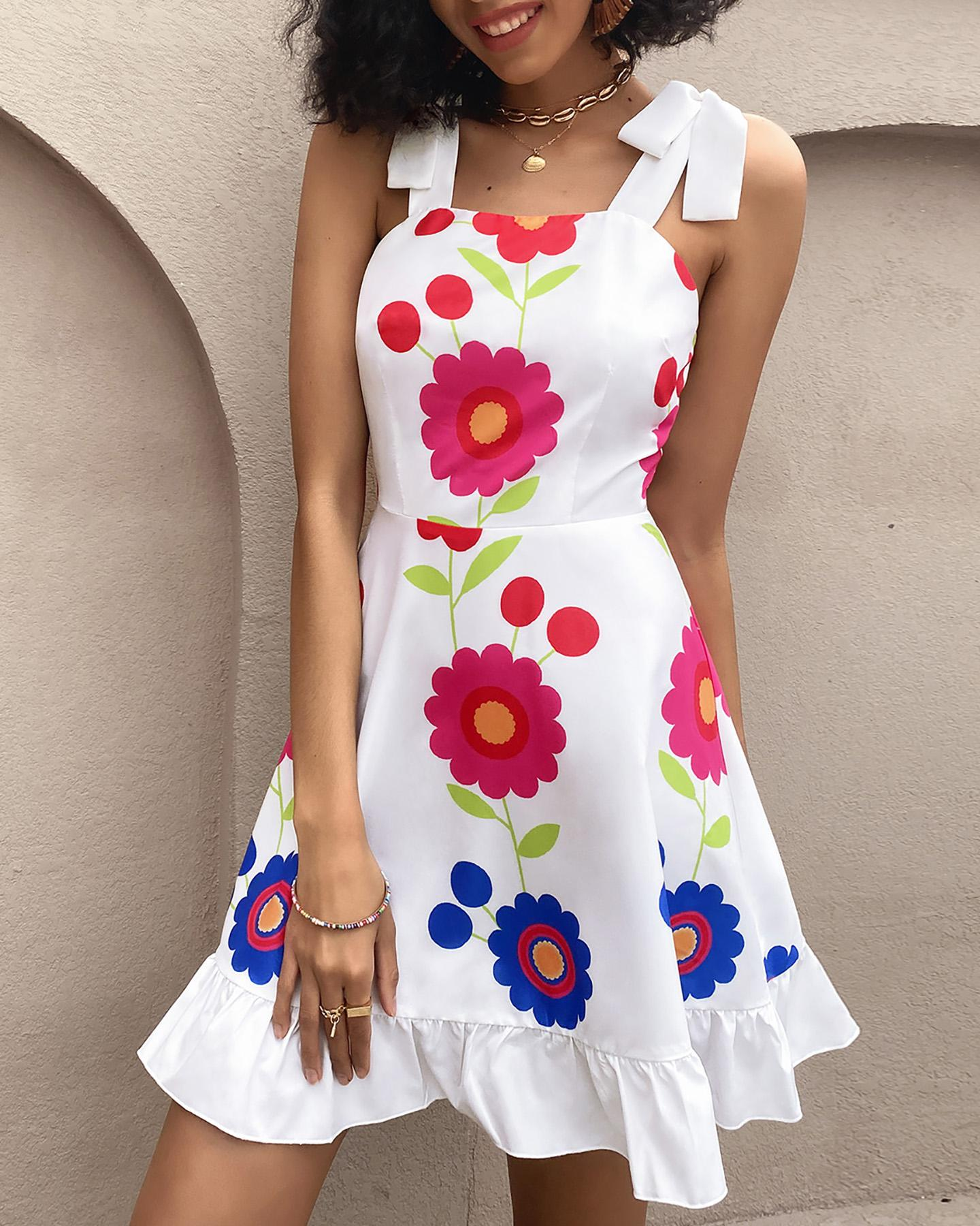 Floral Print Ruffle Hem Sleeveless Dress