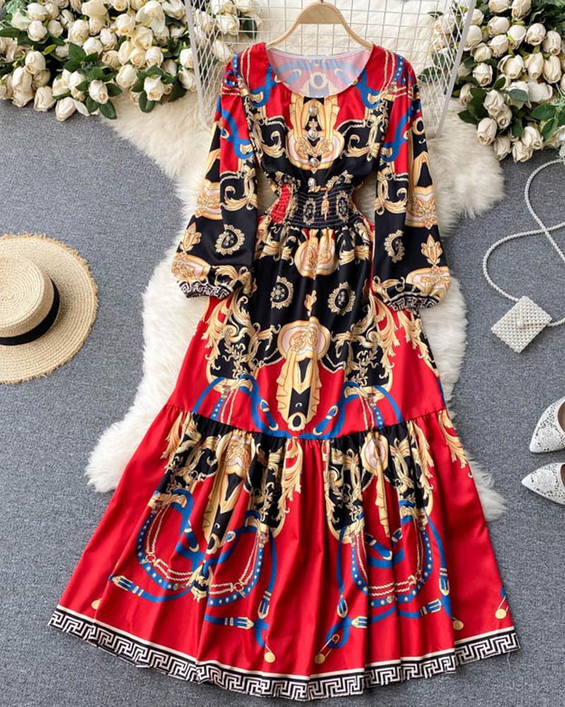 Retro Patterns Print Long Sleeve Loose Beach Dress, Red