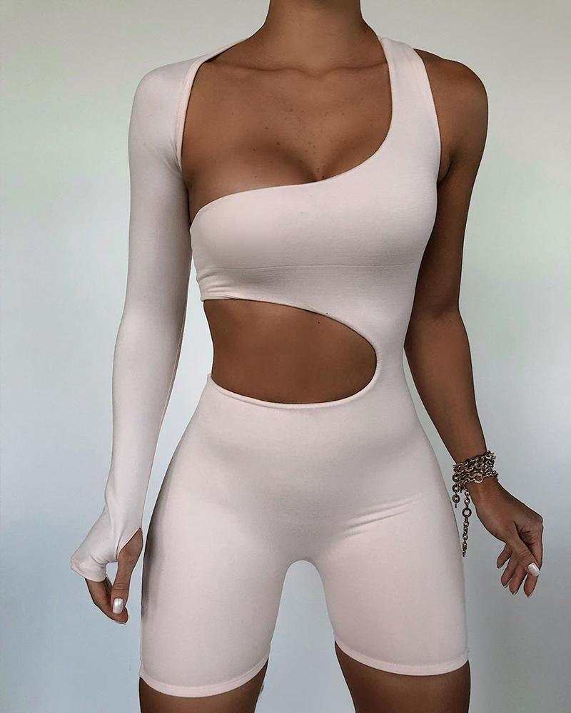 Cold Shoulder Cutout Backless Solid Romper thumbnail