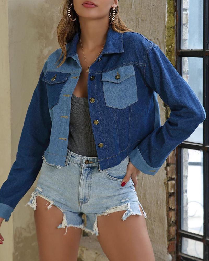 ivrose / Turn-down Collar Frayed Hem Colorblock Denim Jacket