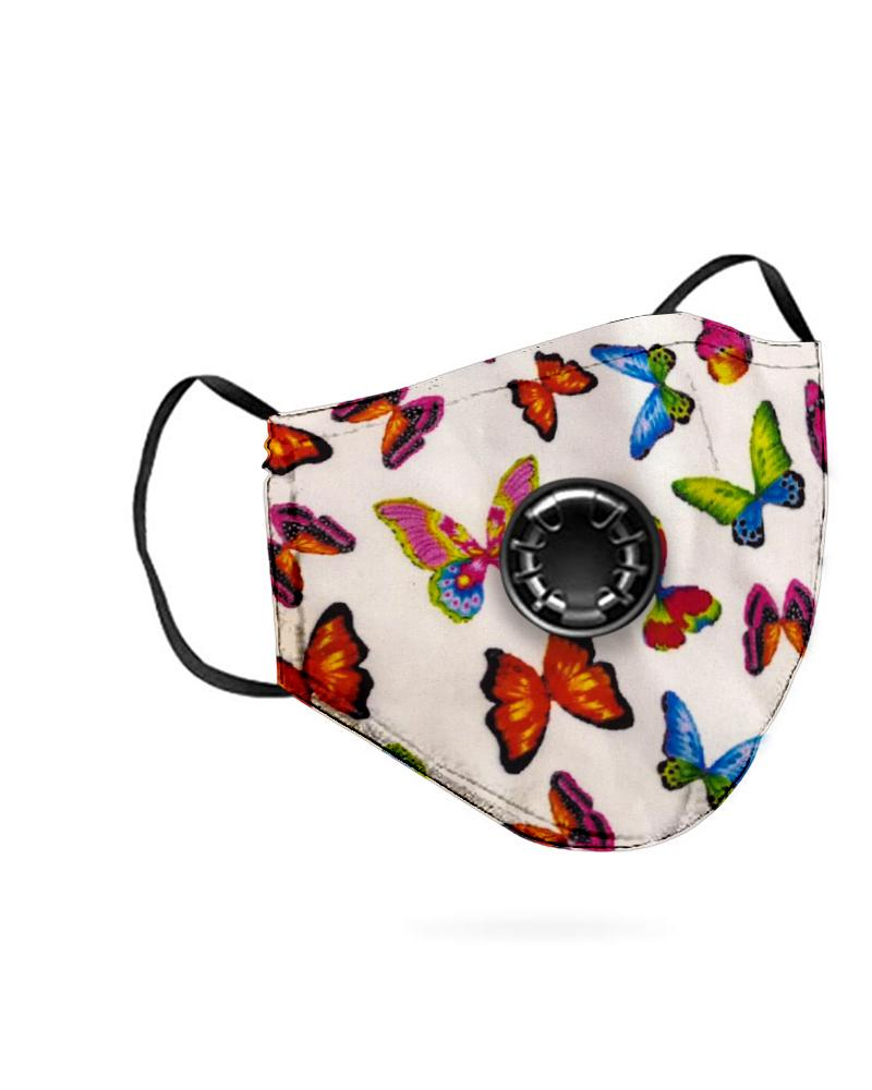 Butterfly Print Breathing Washable Valve Face M .a. s. k (2 filters as gift) thumbnail