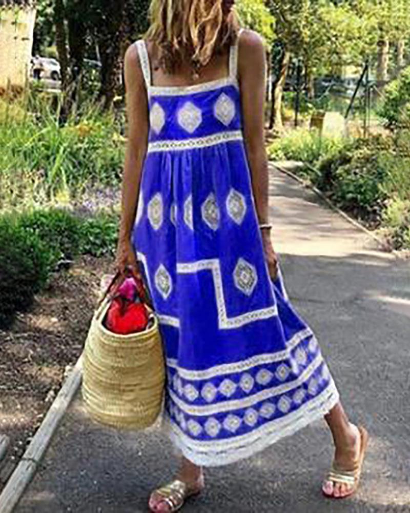 Geometry Print Colorblock Square Neck Maxi Dress thumbnail