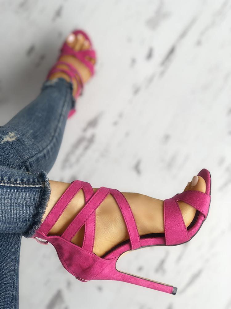 Solid Color Caged Bandage Thin Heeled Sandals