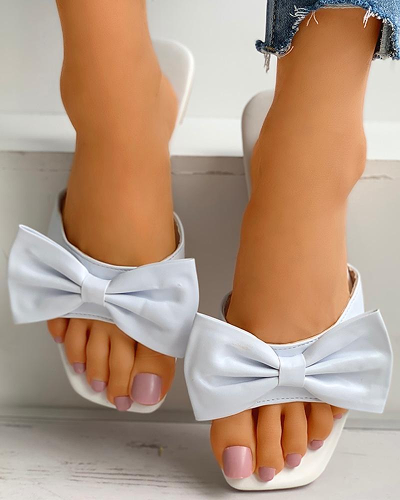 Square Toe Bowknot Decor Heeled Sandals thumbnail