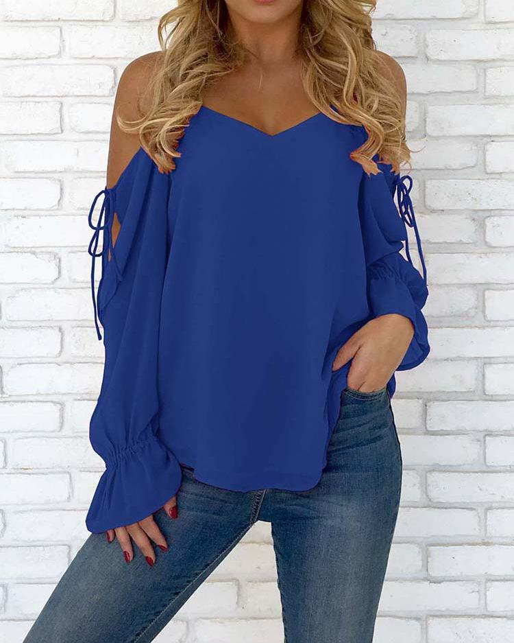 Joyshoetique coupon: Spaghetti Strap Open Shoulder Casual Blouse