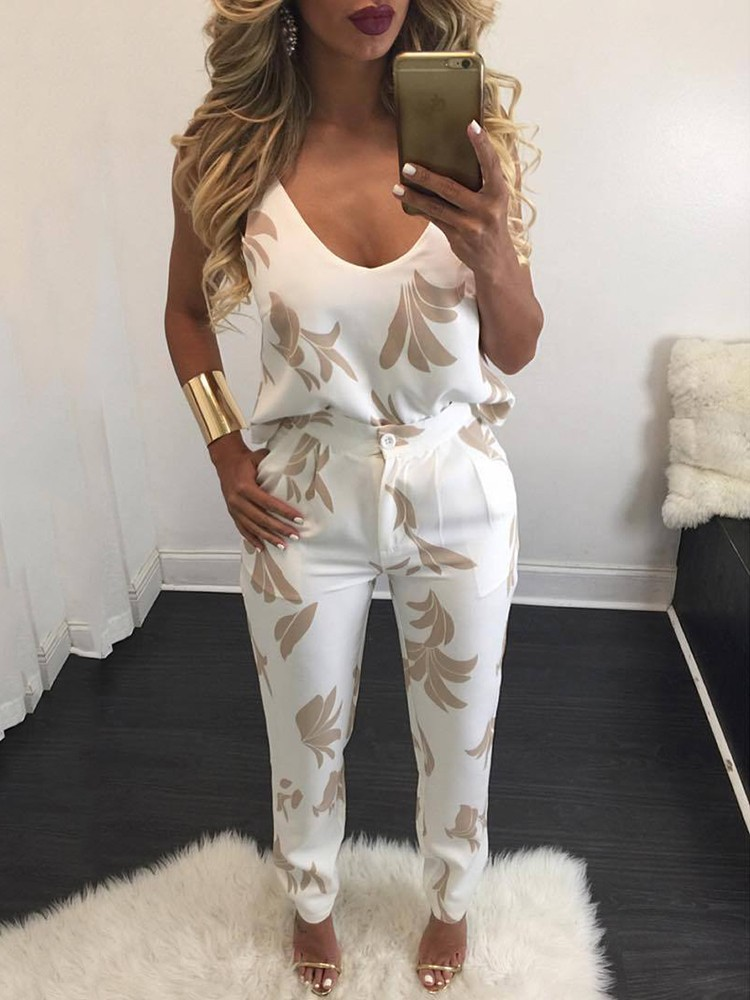 boutiquefeel / Stylish Printed Spaghetti-strap Print Pant suit