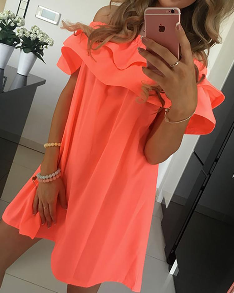 Flounced Off Shoulder Pleated Tunic Dress