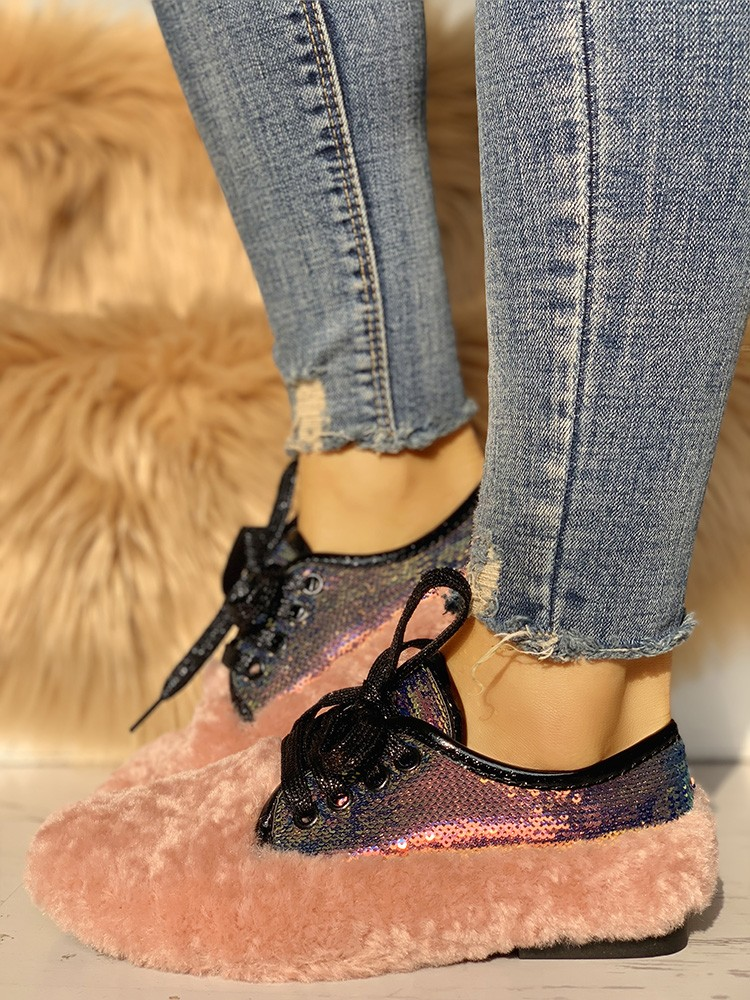 boutiquefeel / Lace-Up Sequins Fluffy Flat Shoes
