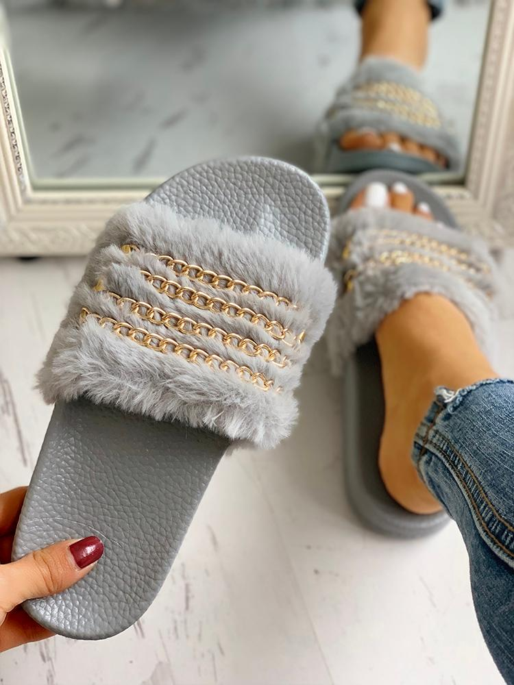 boutiquefeel / Fluffy Chain Detail Open Toe Slippers