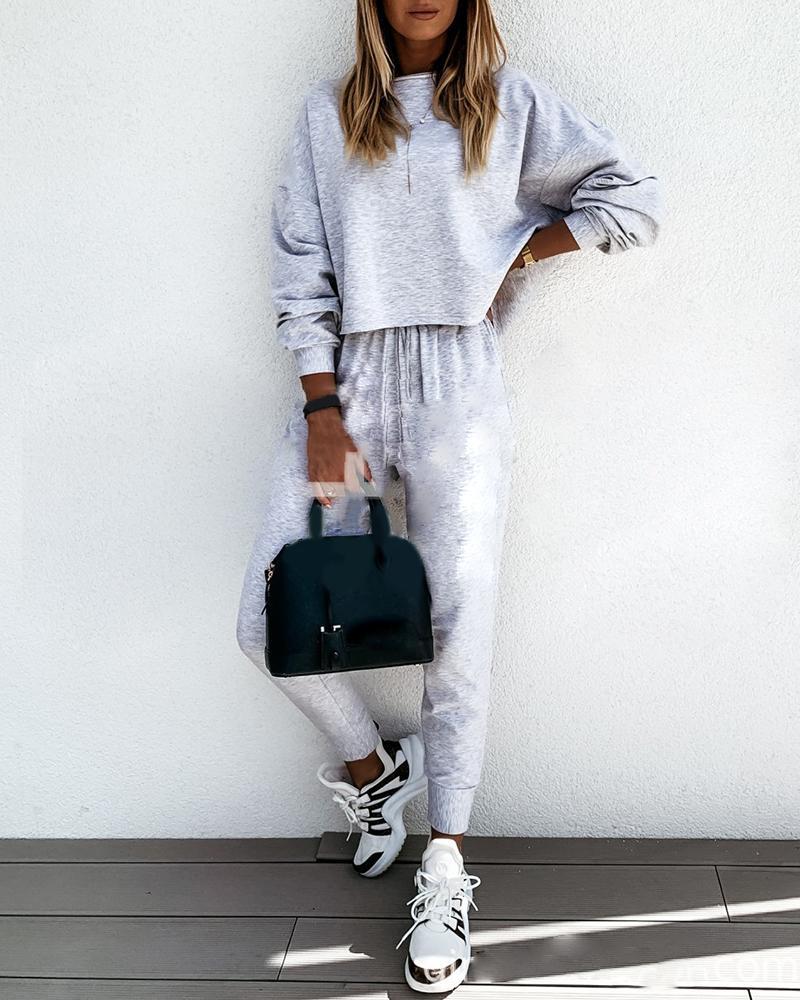 Long Sleeve Casual Top & Drawstring Pants Set thumbnail