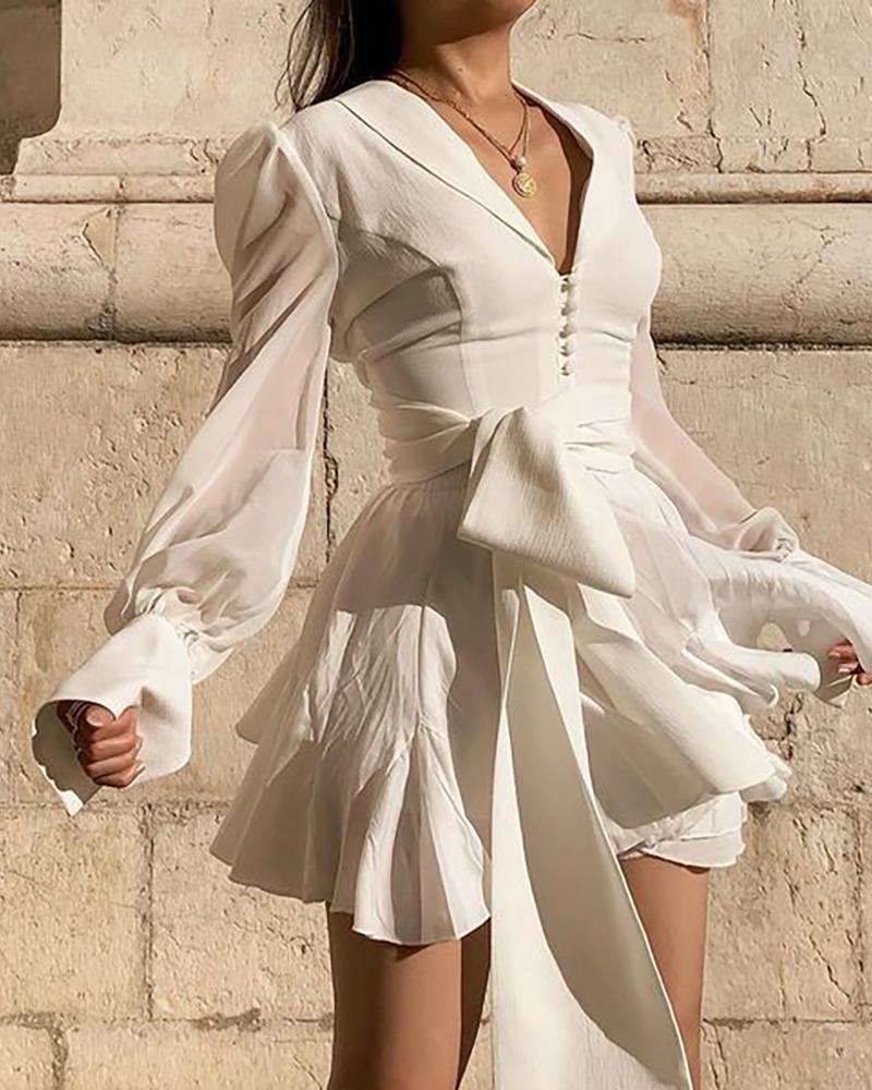 Solid Long Sleeve Ruffles Casual Dress thumbnail