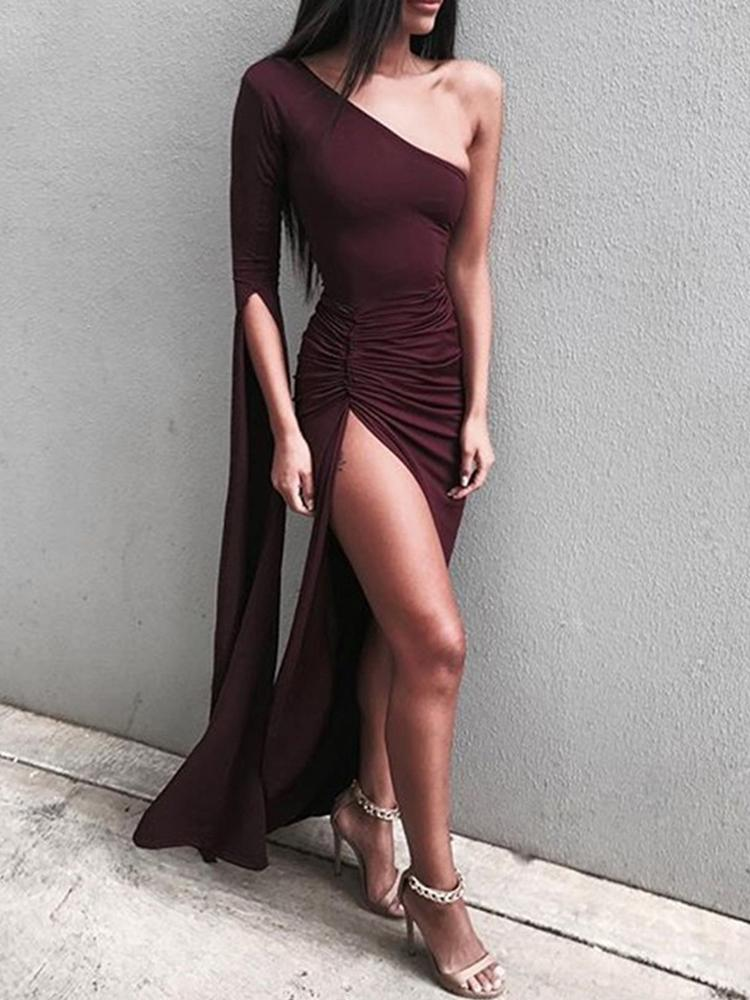 Joyshoetique coupon: Irregular One Shoulder High Slit Maxi Dress