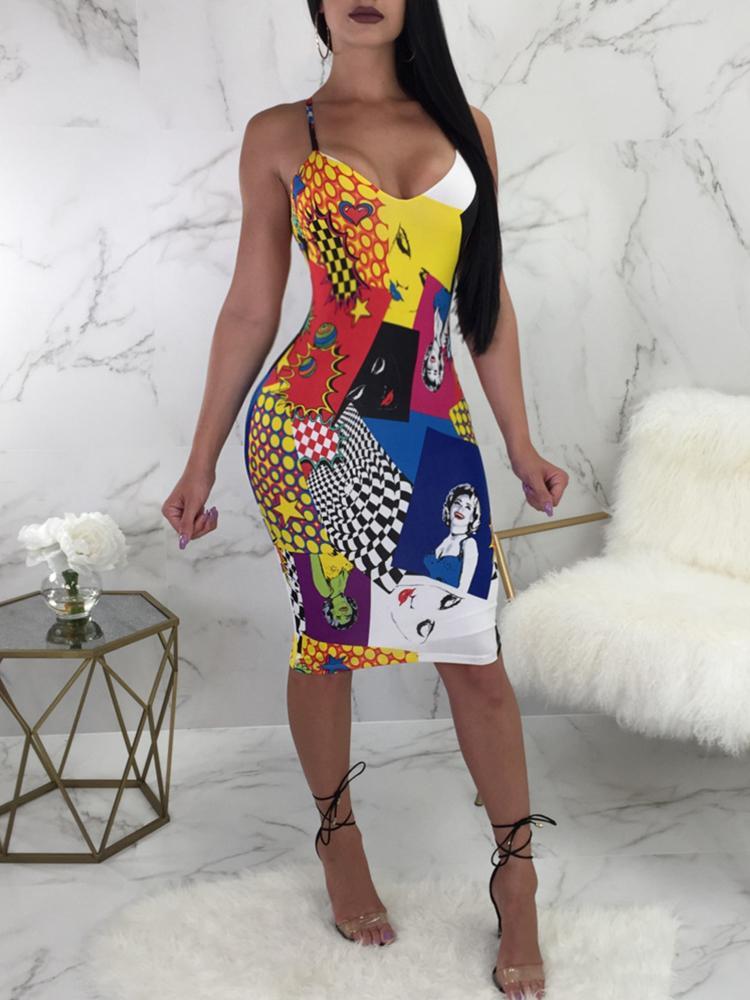 boutiquefeel / Sexy Print Backless Crisscross Bodycon Slip Dress