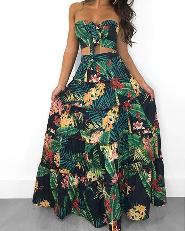 Tropical Print Crop Top & Maxi Skirt Set