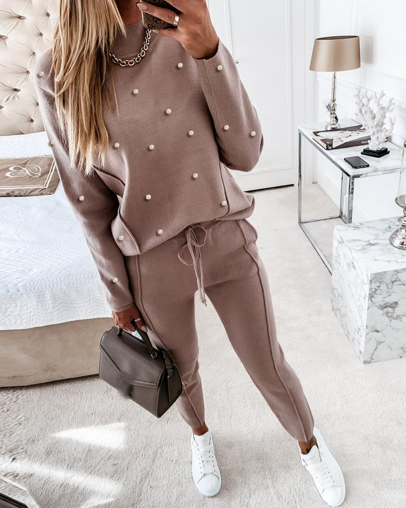 Beaded Long Sleeve Top & Drawstring Waist Pants Set