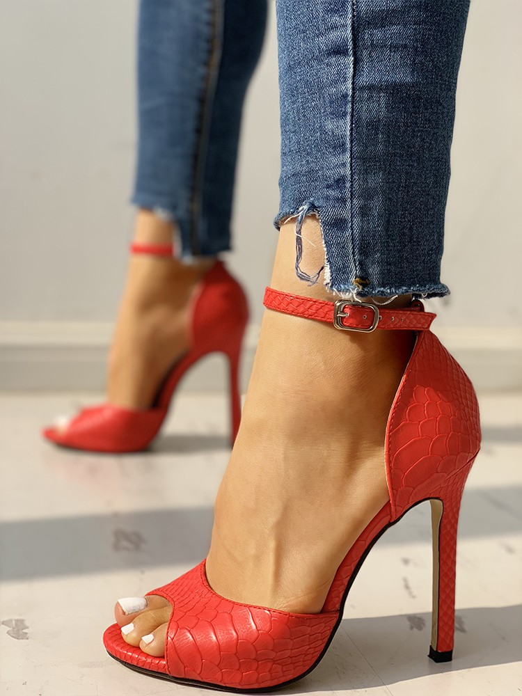 Peep Toe Ankle Strap Thin Heeled Sandals