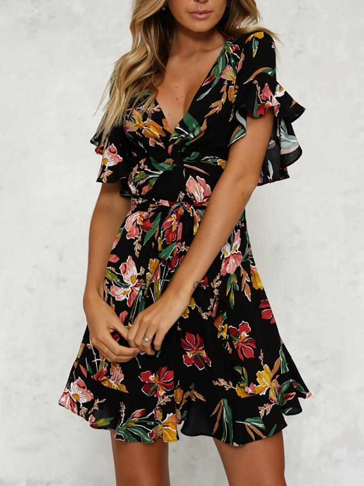Deep V Ruffles Floral Print Mini Dress thumbnail