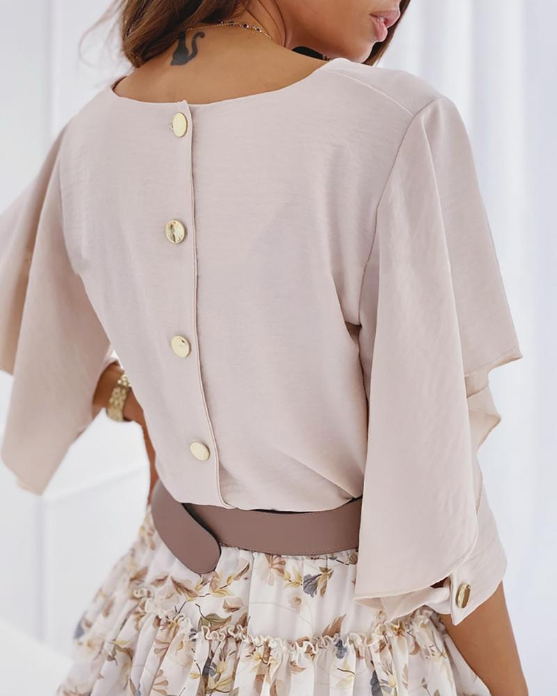 Button Design Butterfly Sleeve V-neck Blouse