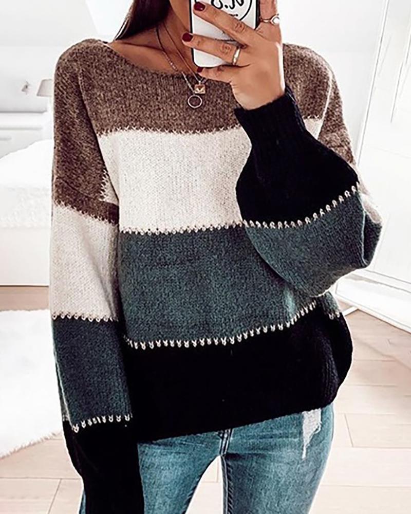 Colorblock Knit Long Sleeve Casual Sweater thumbnail
