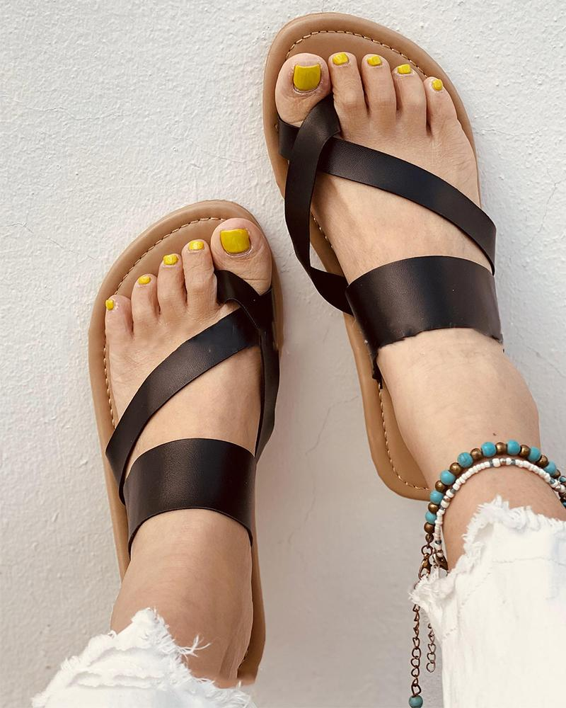 Solid Color PU Leather Flip-flop Slippers
