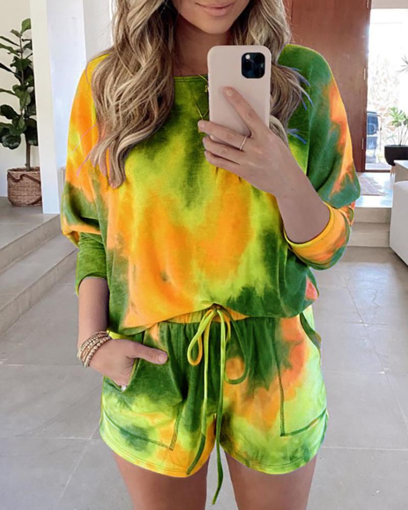 Tie Dye Print Top & Drawstring Shorts Set thumbnail