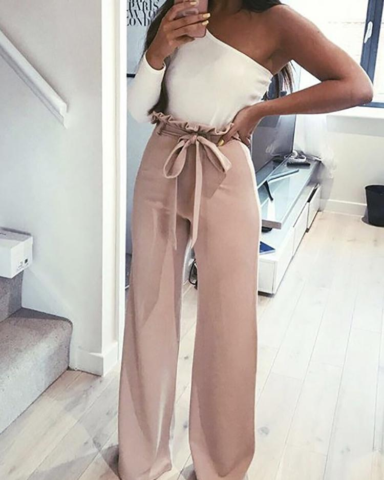 Joyshoetique coupon: Frills Belted High Waisted Wide Leg Pants