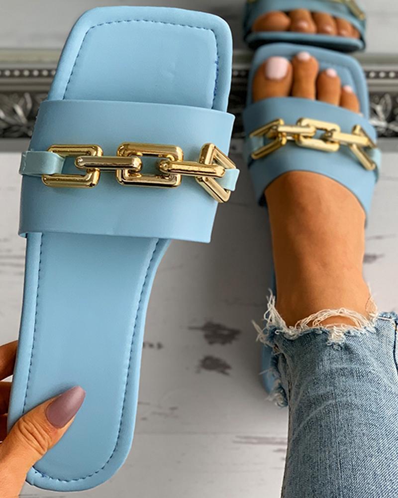 Chain Strap Deocr Square Toe Flat Sandals