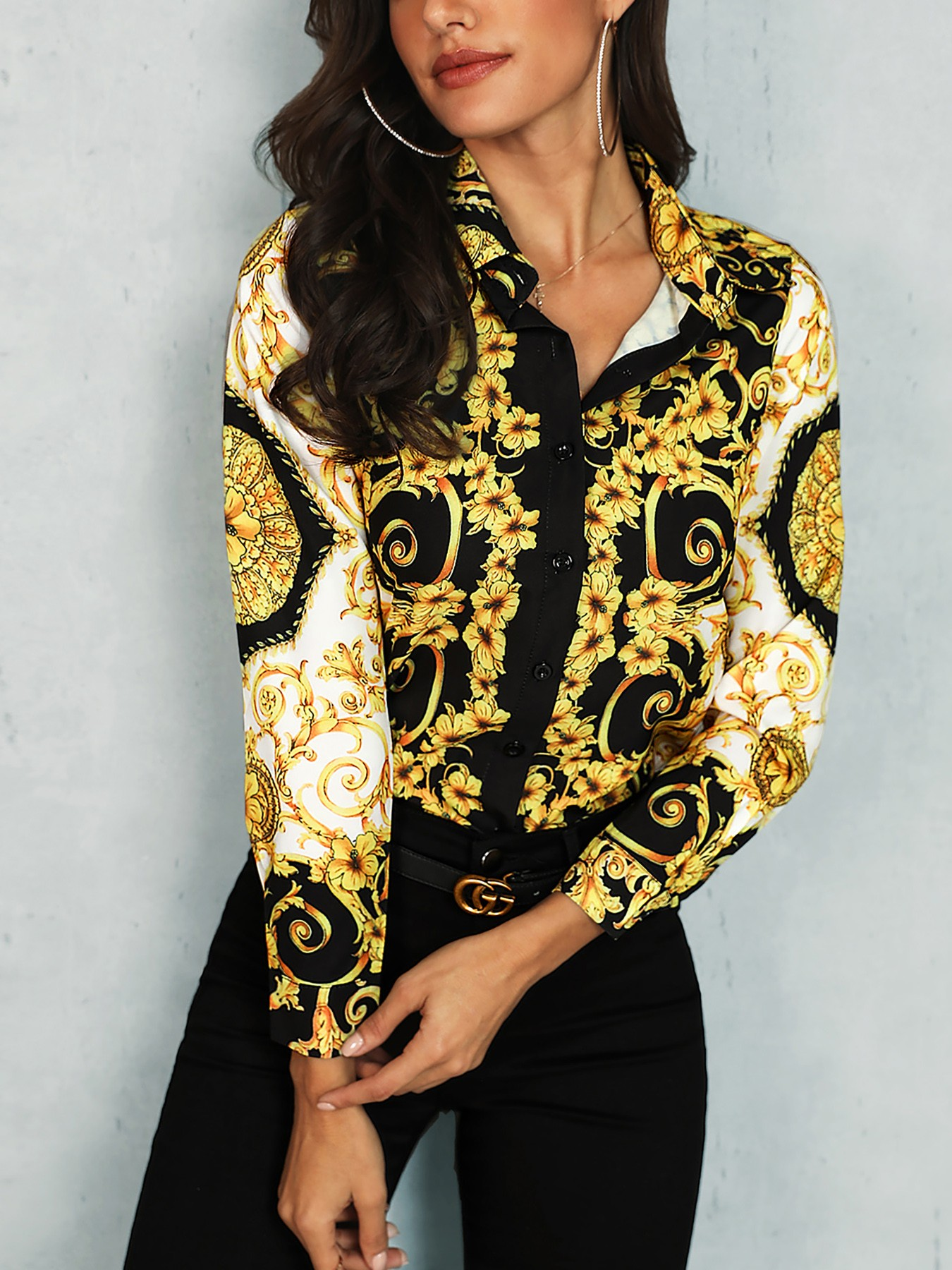 Ethnic Print Knot Front Blouse
